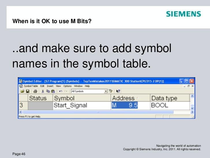 Top Ten Programming Mistakes By People New To Siemens