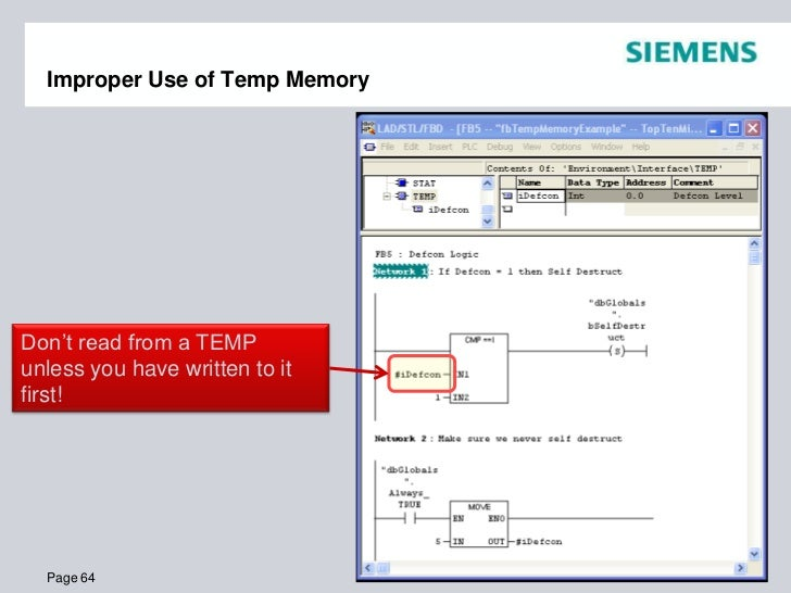 Top Ten Programming Mistakes by People New to Siemens