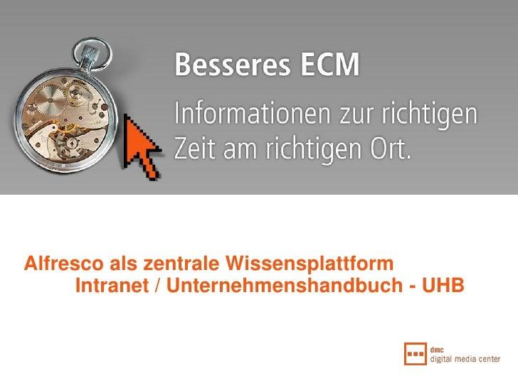 Alfresco als zentrale Wissensplattform       Intranet / Unternehmenshandbuch - UHB