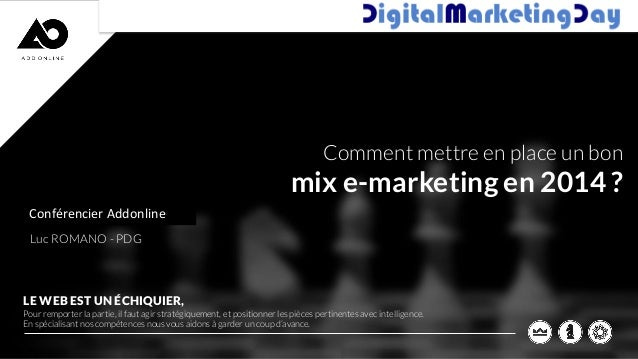 Comment mettre en place un bon  mix e-marketing en 2014 ? Conférencier Addonline INTERVENANTS ADD ONLINE Luc ROMANO - PDG ...
