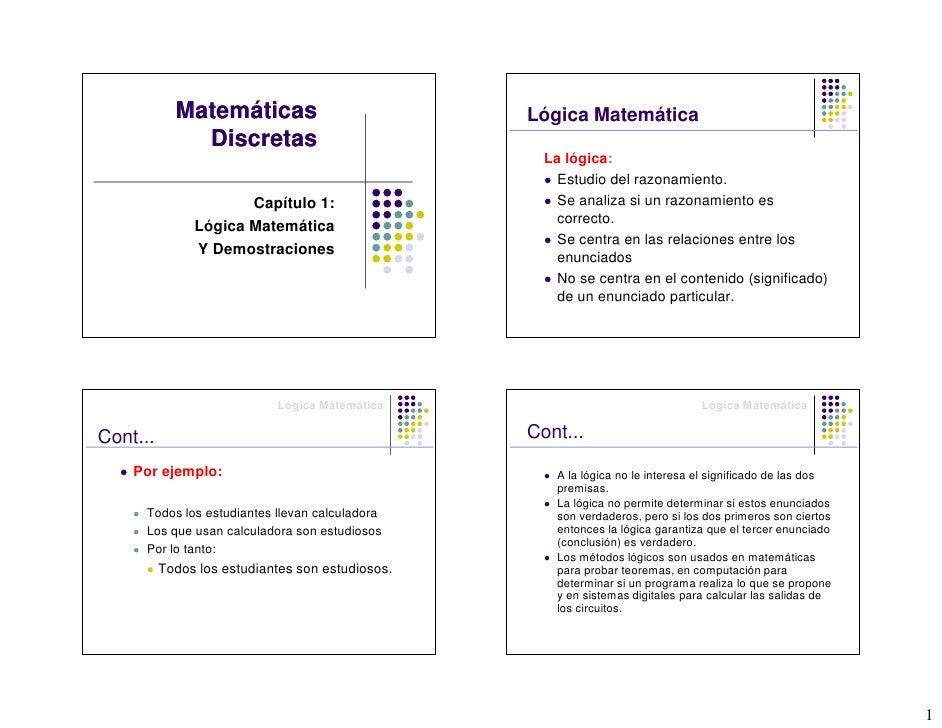 Matemáticas                           Lógica Matemática               Discretas                                           ...