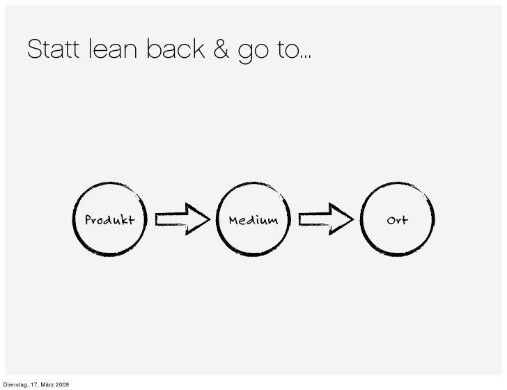 Statt lean back & go to...                               Produkt   Medium   Ort     Dienstag, 17. März 2009