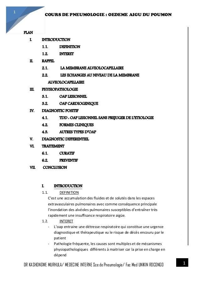 4/23/2014 COURS DE PNEUMOLOGIE : OEDEME AIGU DU POUMON DR KASHONGWE MURHULA/ MEDECINE INTERNE Sce de Pneumologie/ Fac Med ...