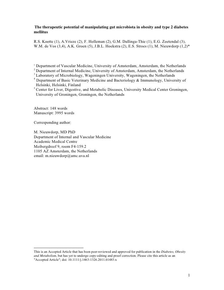 The therapeutic potential of manipulating gut microbiota in obesity and type 2 diabetesmellitusR.S. Kootte (1), A.Vrieze (...