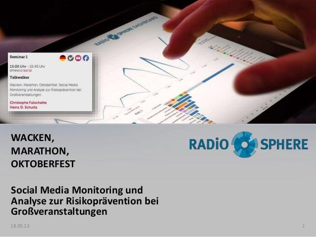 WACKEN, MARATHON, OKTOBERFEST Social Media Monitoring und Analyse zur Risikoprävention bei Großveranstaltungen 18.09.13 1