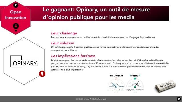 © HUB Institute All Rights Reserved Le gagnant: Opinary, un outil de mesure d'opinion publique pour les media 17 Open Inno...