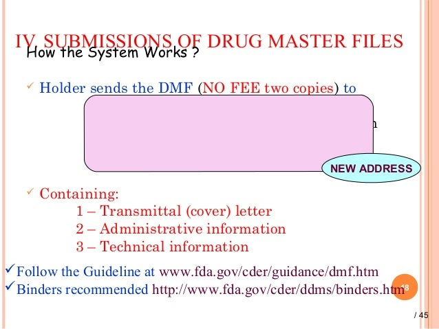 drug master file A drug master file (dmf) is a submission to the food and drug administration ( fda) that may be used to provide confidential detailed information about.