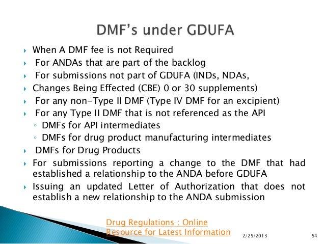 Drug Master Files Under GDUFA