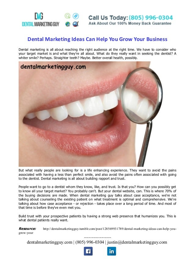 Dental Marketing Ideas Can Help You Grow Your Business Dental marketing is all about reaching the right audience at the ri...