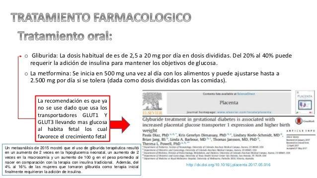 o Gliburida: La dosis habitual de es de 2,5 a 20 mg por día en dosis divididas. Del 20% al 40% puede requerir la adición d...
