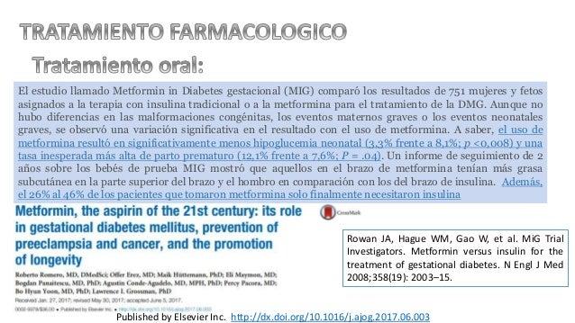 El estudio llamado Metformin in Diabetes gestacional (MIG) comparó los resultados de 751 mujeres y fetos asignados a la te...