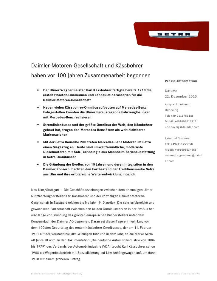 Daimler-Motoren-Gesellschaft und Kässbohrerhaben vor 100 Jahren Zusammenarbeit begonnen                                   ...