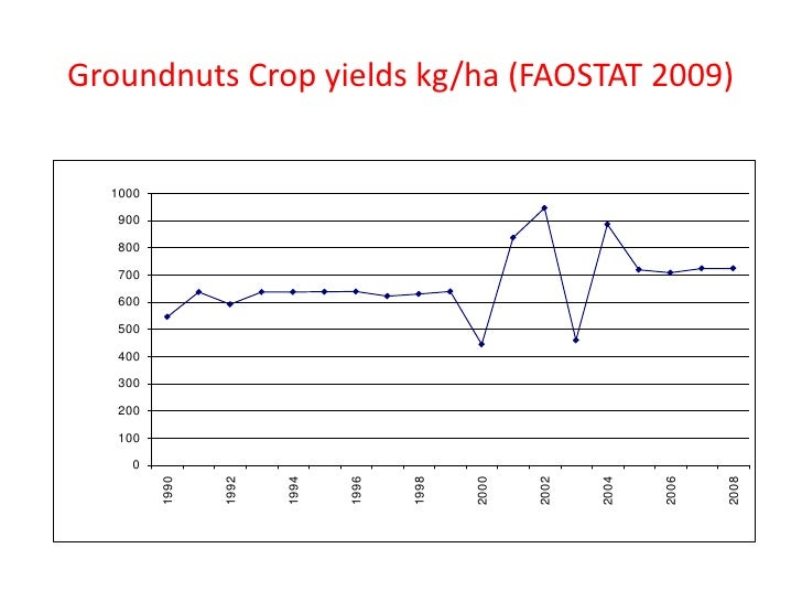 Groundnuts Crop yields kg/ha (FAOSTAT 2009)  1000   900   800   700   600   500   400   300   200   100    0         1990 ...