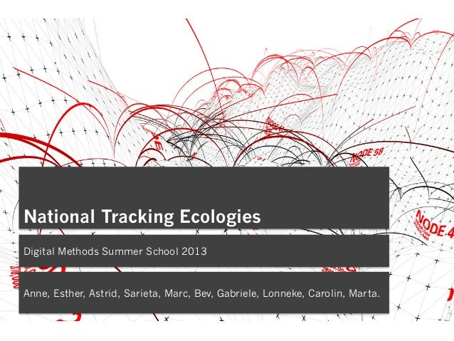 National Tracking Ecologies Digital Methods Summer School 2013 Anne, Esther, Astrid, Sarieta, Marc, Bev, Gabriele, Lonneke...