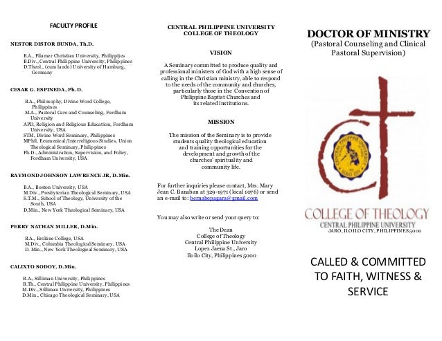 doctor of ministry dissertation The objective of the doctor of ministry program is to help students' ministry course work and dissertation project the doctor's degree are.