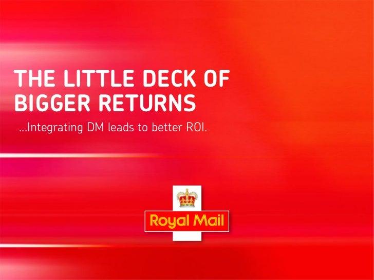 THE LITTLE DECK OFBIGGER RETURNS...Integrating DM leads to better ROI.