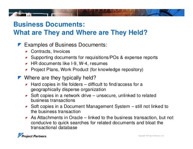 Project Partners Document Management Integration for Oracle eBusiness – Business Document