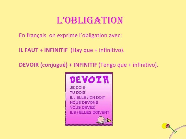 L'OBLIGATION En français  on exprime l'obligation avec: IL FAUT + INFINITIF  (Hay que + infinitivo). DEVOIR (conjugué) + I...