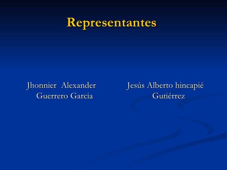 Representantes   <ul><li>Jhonnier  Alexander Guerrero Garcia  </li></ul><ul><li>Jesús Alberto hincapié Gutiérrez  </li></ul>