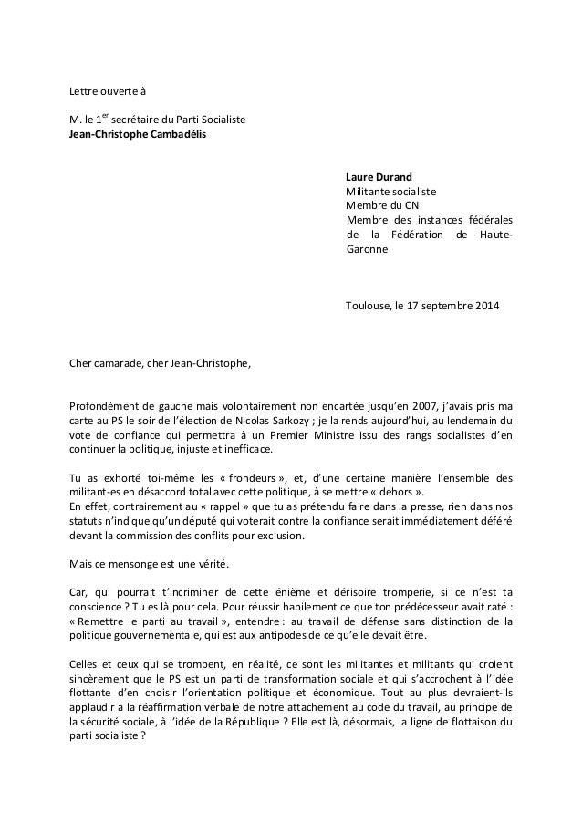 Lettre ouverte à  M. le 1er secrétaire du Parti Socialiste  Jean-Christophe Cambadélis  Laure Durand  Militante socialiste...