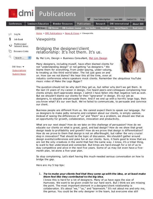 Home > DMI Publications > News & Views > Viewpoints                Viewpoints                Bridging the designer/client ...