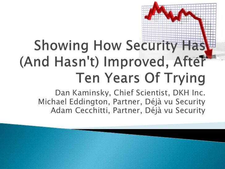 Showing How Security Has (And Hasn't) Improved, After Ten Years Of Trying<br />Dan Kaminsky, Chief Scientist, DKH Inc.<br ...
