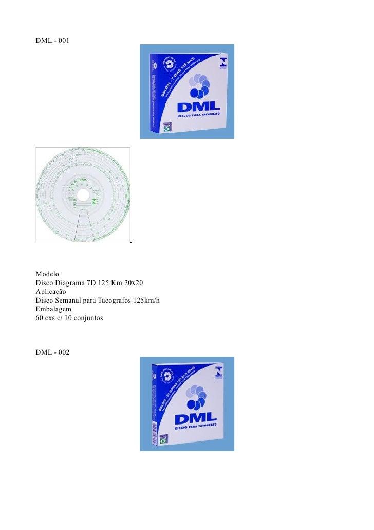 DML - 001ModeloDisco Diagrama 7D 125 Km 20x20AplicaçãoDisco Semanal para Tacografos 125km/hEmbalagem60 cxs c/ 10 conjuntos...