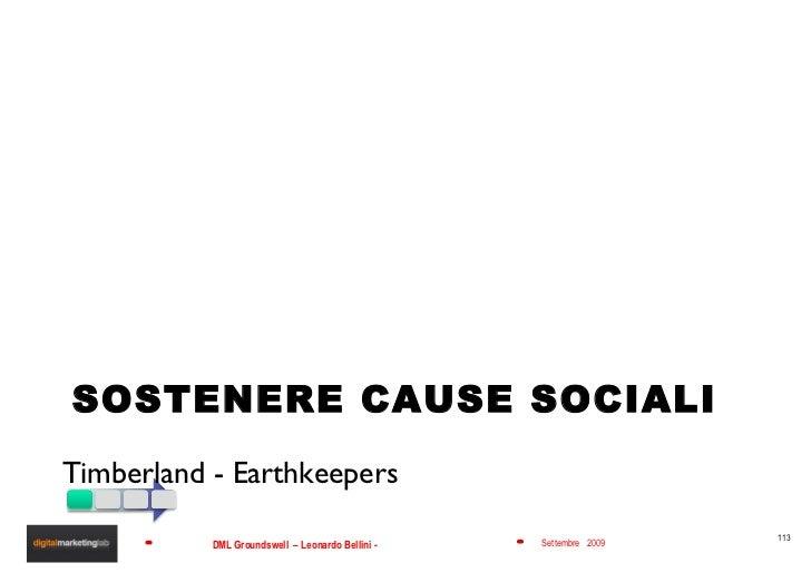 SOSTENERE CAUSE SOCIALI <ul><li>Timberland - Earthkeepers </li></ul>