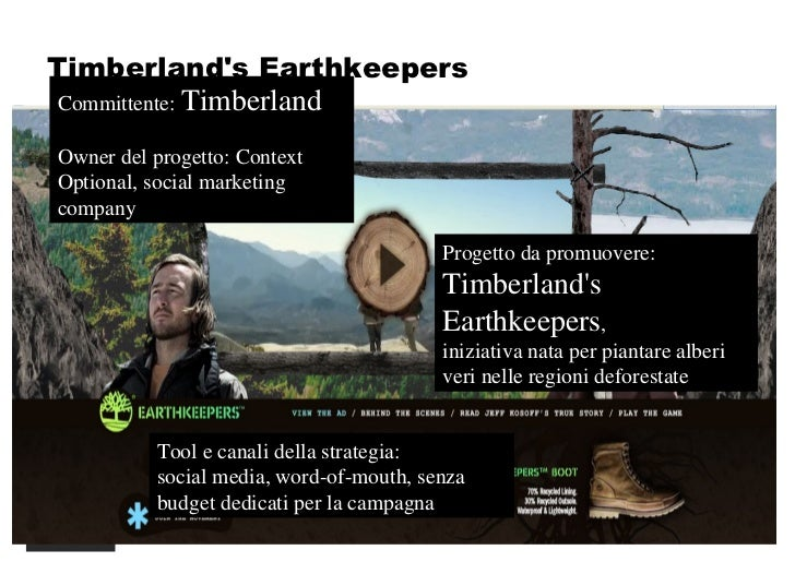 Timberland's Earthkeepers Committente:  Timberland Owner del progetto: Context Optional, social marketing company Progetto...