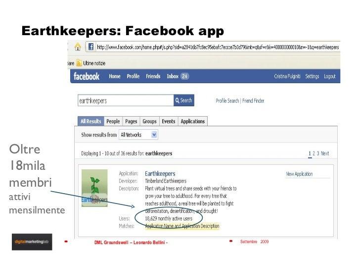 Earthkeepers: Facebook app Oltre 18mila membri  attivi mensilmente