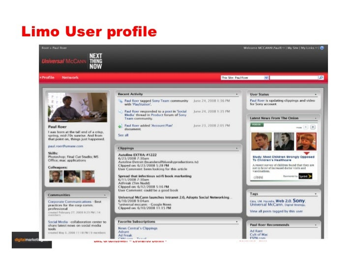 Limo User profile