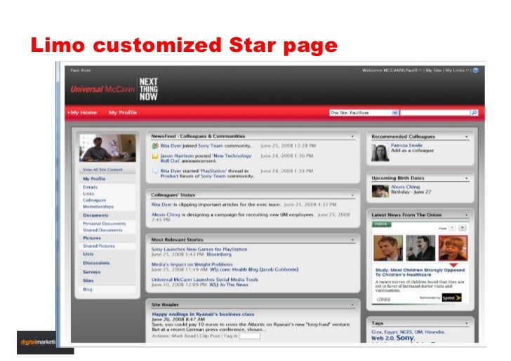 Limo customized Star page