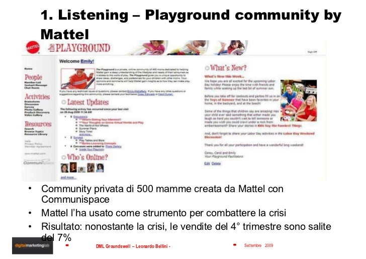 1.  Listening – Playground community by Mattel <ul><li>Community privata di 500 mamme creata da Mattel con Communispace </...