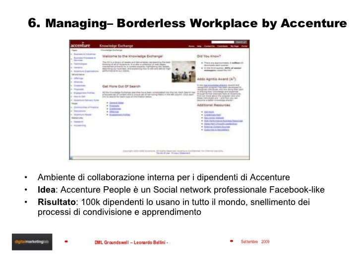 6.  Managing– Borderless Workplace by Accenture <ul><li>Ambiente di collaborazione interna per i dipendenti di Accenture <...