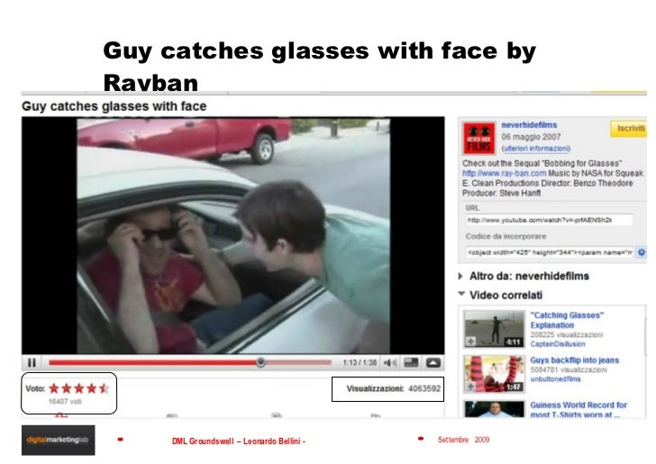 Guy catches glasses with face by Rayban