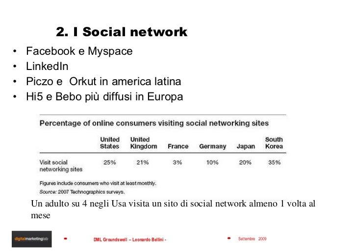 2. I Social network <ul><li>Facebook e Myspace </li></ul><ul><li>LinkedIn </li></ul><ul><li>Piczo e  Orkut in america lati...