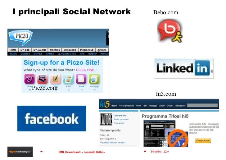 I principali Social Network Bebo.com Piczo.com hi5.com