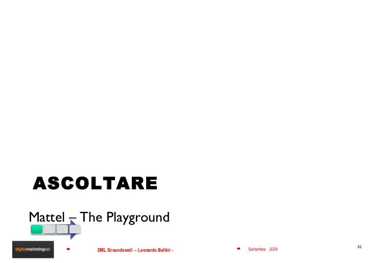 ASCOLTARE <ul><li>Mattel – The Playground </li></ul>