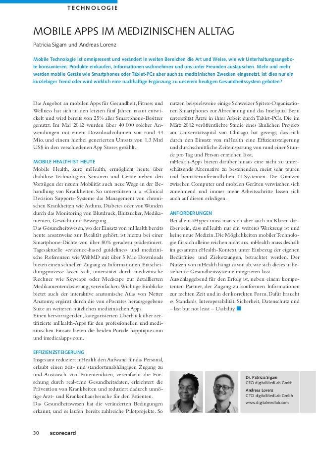 TECHNOLOGIEMOBILE APPS IM MEDIZINISCHEN ALLTAGPatricia Sigam und Andreas LorenzMobile Technologie ist omnipresent und verä...