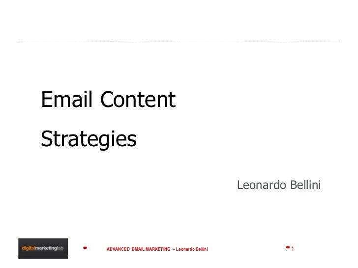 Email Content Strategies Leonardo Bellini