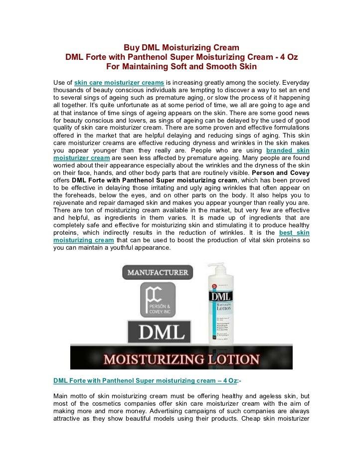 Buy DML Moisturizing Cream    DML Forte with Panthenol Super Moisturizing Cream - 4 Oz             For Maintaining Soft an...