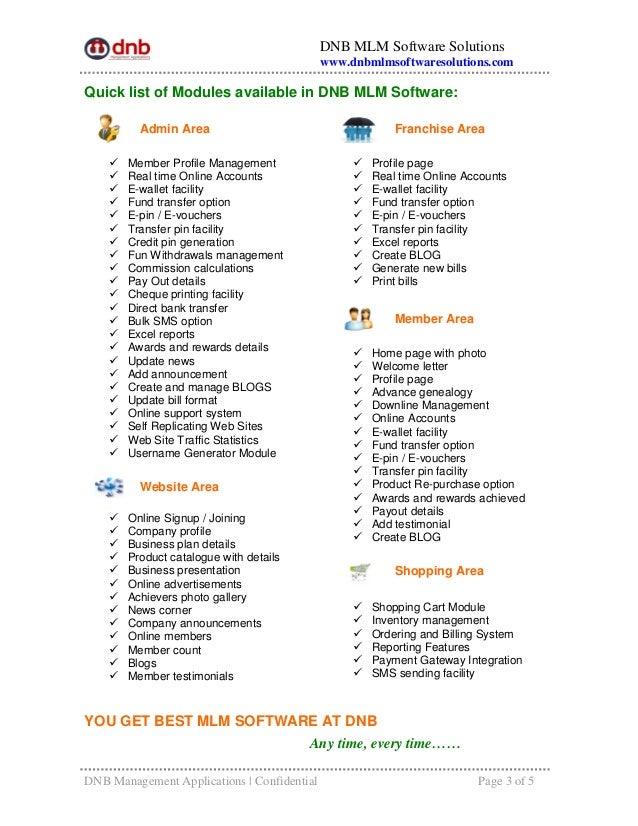MLM Software Features List