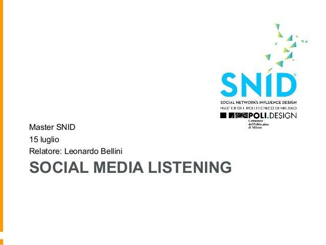 SOCIAL MEDIA LISTENING Master SNID 15 luglio Relatore: Leonardo Bellini