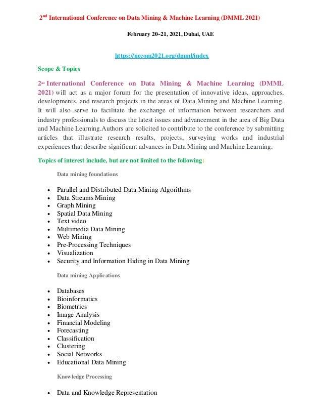 2nd International Conference on Data Mining & Machine Learning (DMML 2021) February 20~21, 2021, Dubai, UAE https://necom2...