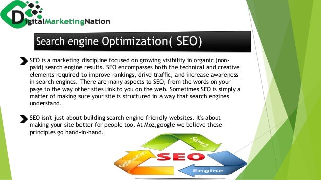 SEO is a marketing discipline focused on growing visibility in organic (non- paid) search engine results. SEO encompasses ...