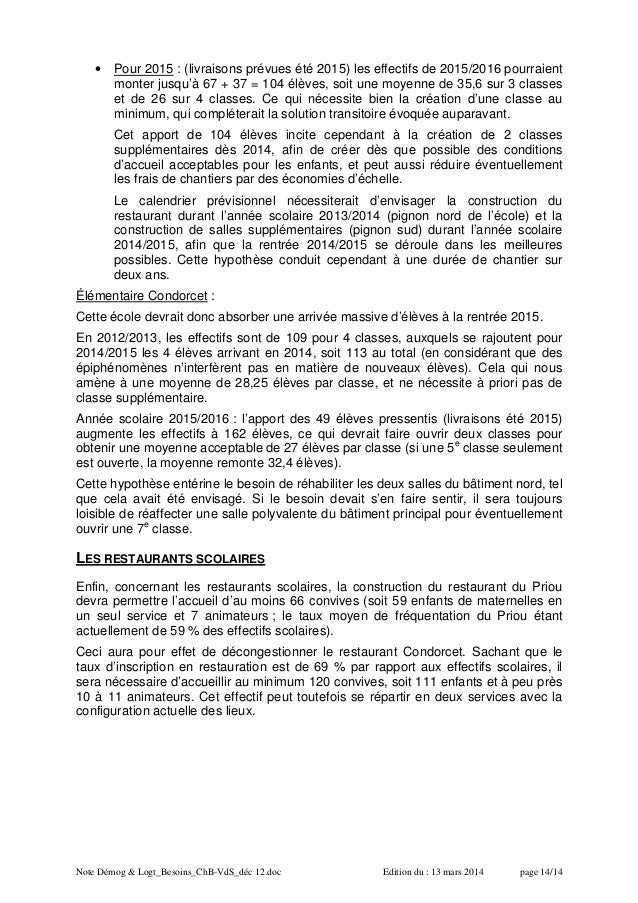 Note Démog & Logt_Besoins_ChB-VdS_déc 12.doc Edition du : 13 mars 2014 page 14/14 • Pour 2015 : (livraisons prévues été 20...
