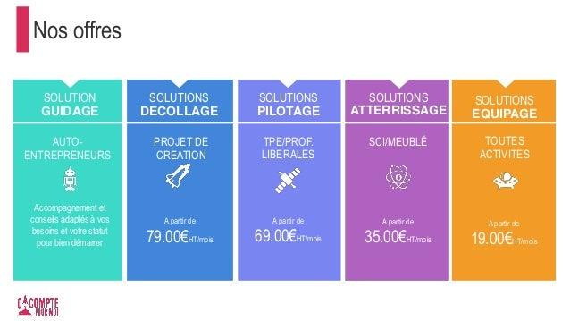 Nos offres SOLUTION GUIDAGE SOLUTIONS DECOLLAGE PROJET DE CREATION A partir de 79.00€HT/mois SOLUTIONS PILOTAGE SOLUTIONS ...