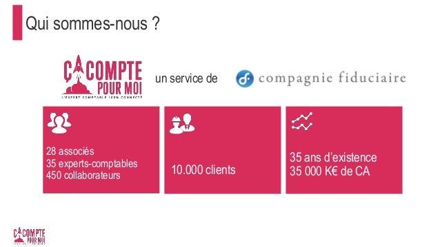 Qui sommes-nous ? 28 associés 35 experts-comptables 450 collaborateurs 10.000 clients 35 ans d'existence 35 000 K€ de CA u...
