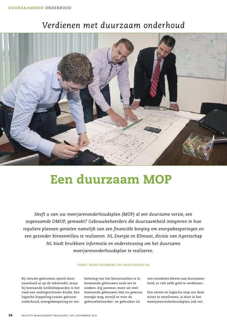 DU U R Z A A M H E I D O NDERHOUD                   Verdienen met duurzaam onderhoud                         Een duurzaam ...