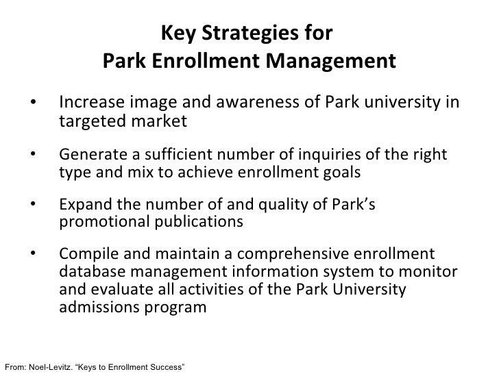 Key Strategies for  Park Enrollment Management <ul><li>Increase image and awareness of Park university in targeted market ...
